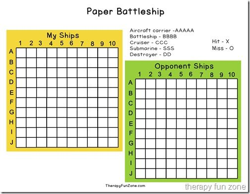Using Paper Battleship to Work on Pencil Control Battleship - numbered graph paper template
