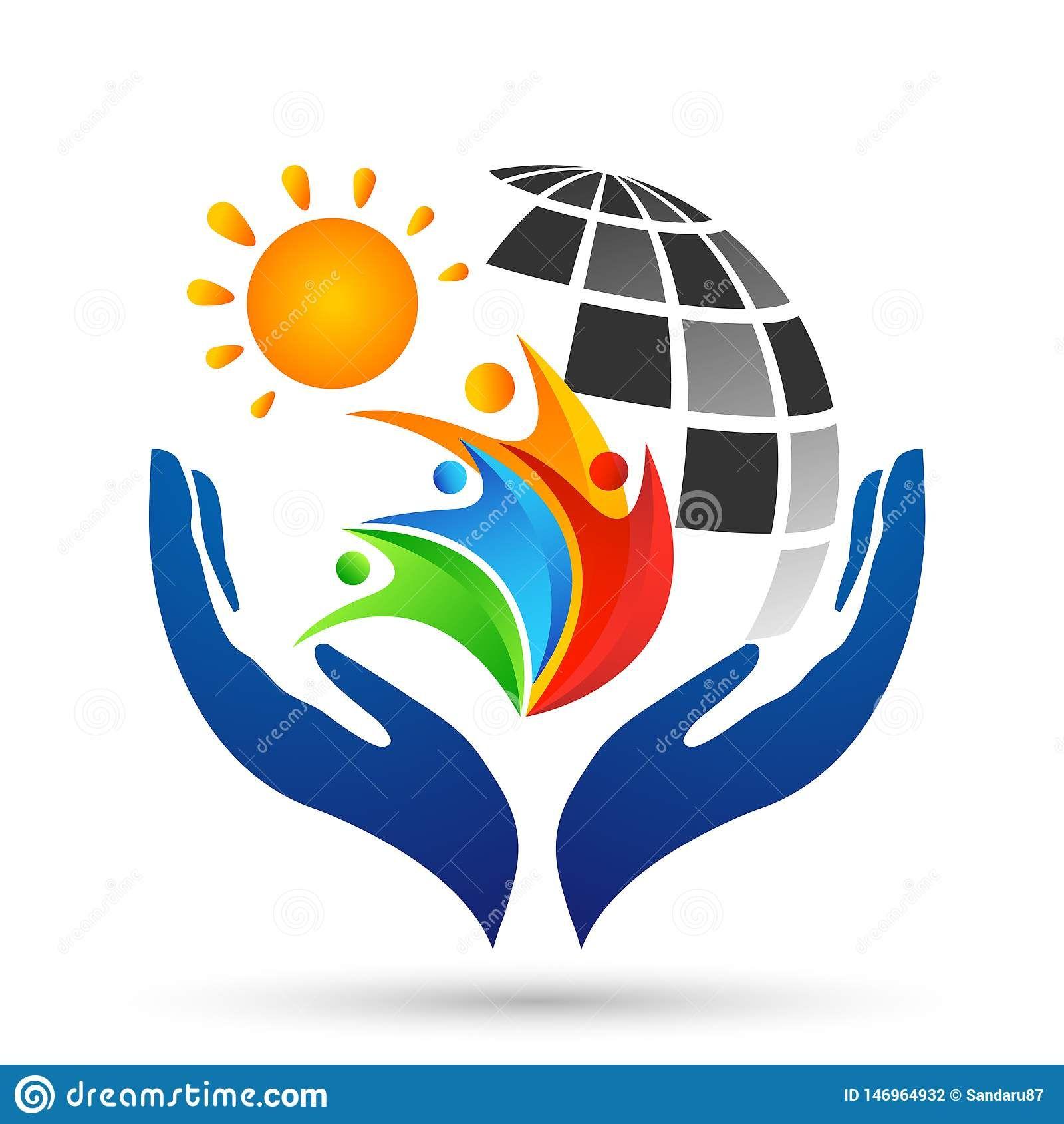 Globe save world sun People care Hands taking care people