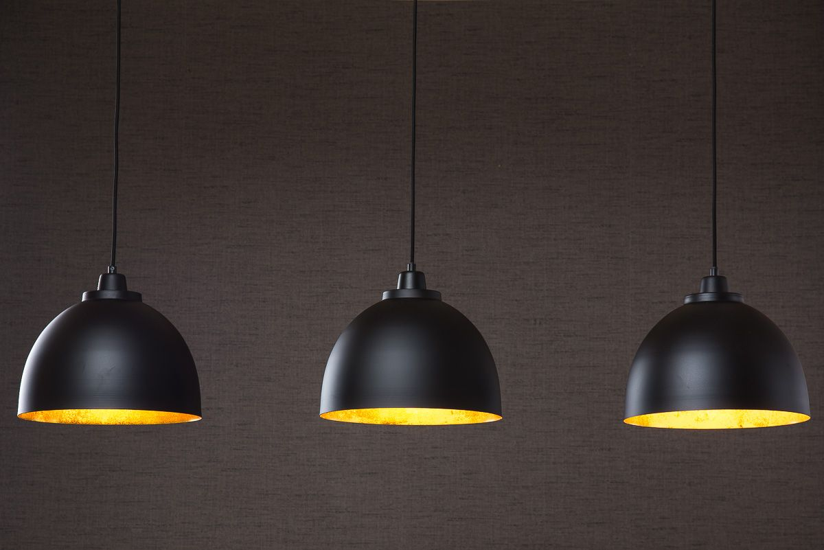 BLACK AND GOLD TRIPLE DOME PENDANT LIGHT £229.00