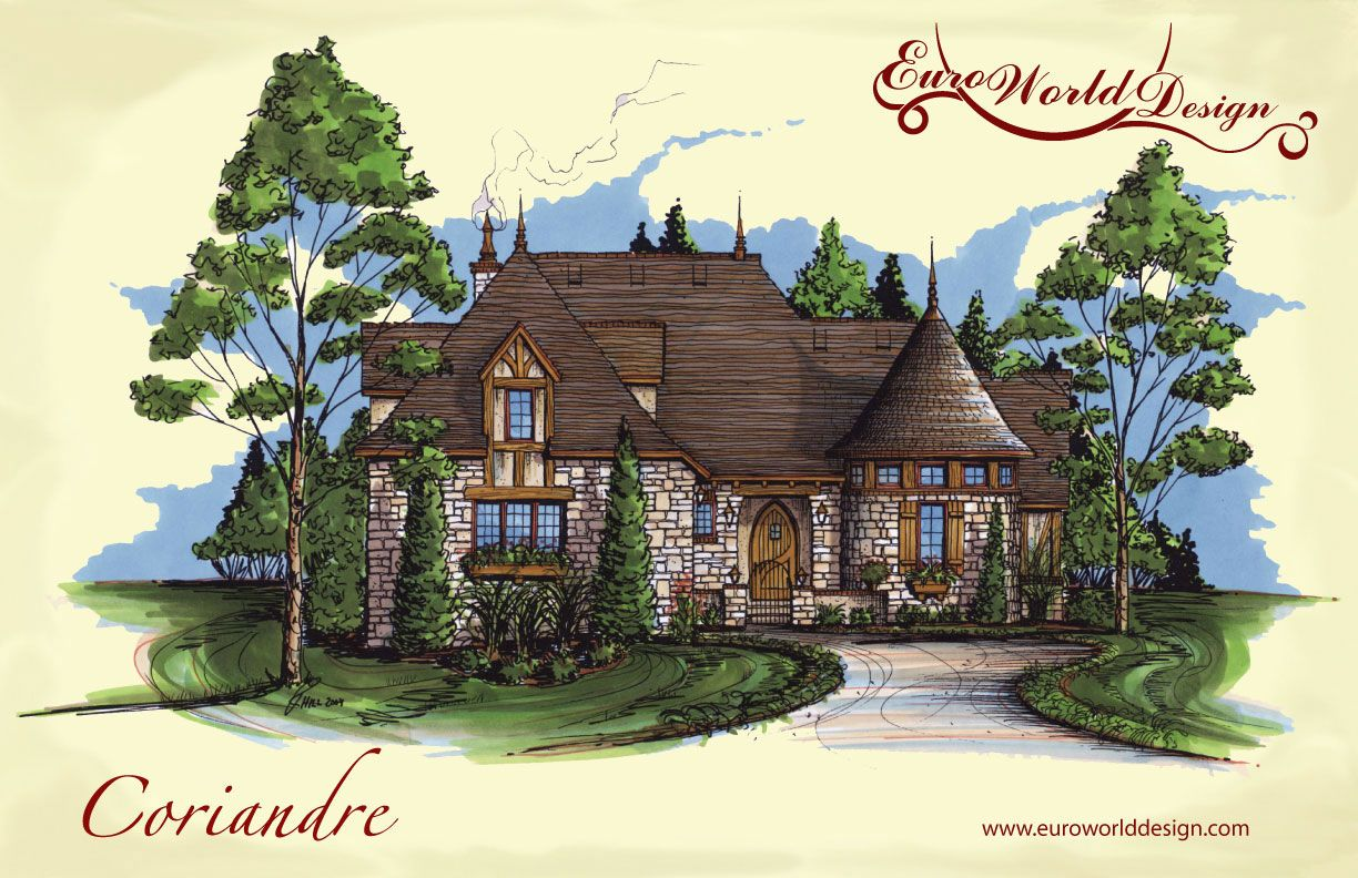 courtyard cottage collection coriandre i euro world design love the turret - Euro House Designs