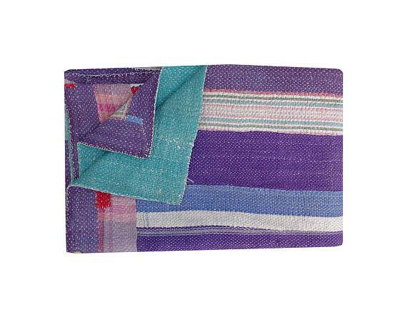 Twin Size Stripe Kantha Quilt Vintage Heavy Quality Kantha Blanket