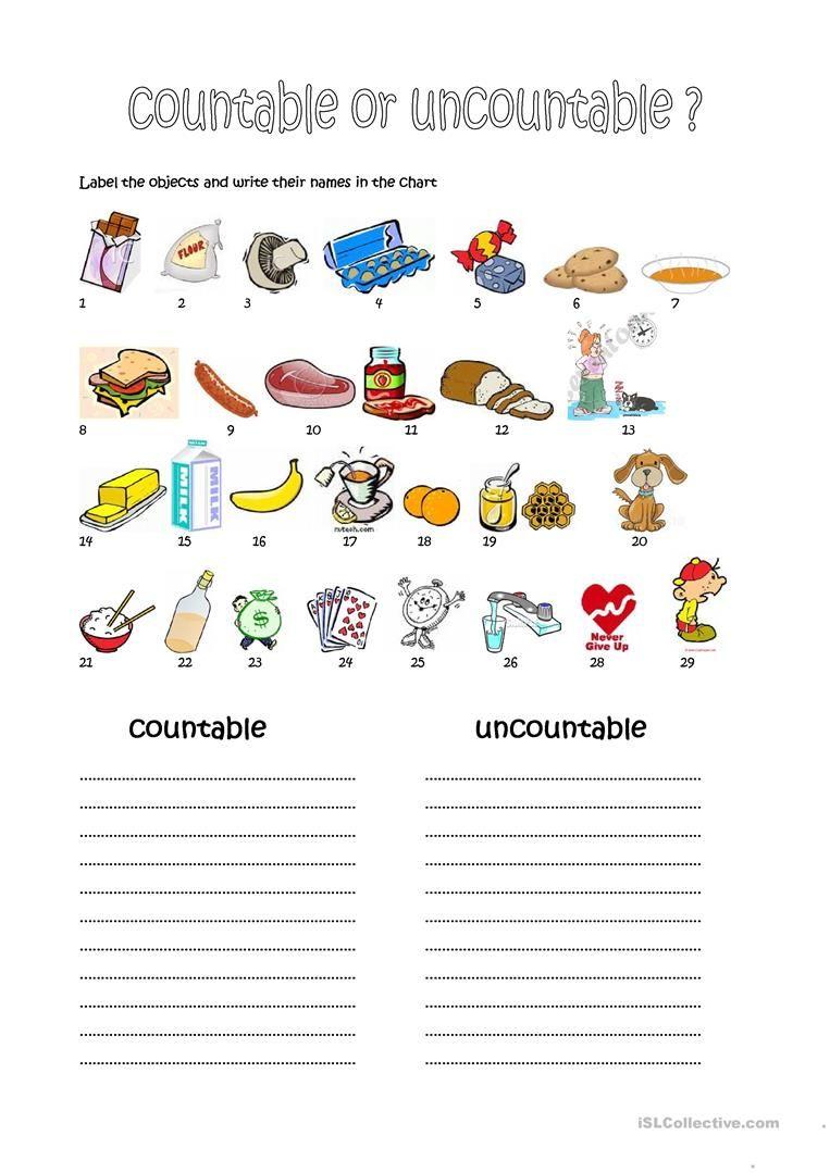 Countable And Uncountable Nouns Worksheets Printable Aulas De Ingles Professores De Ingles Atividades English worksheet countable noun