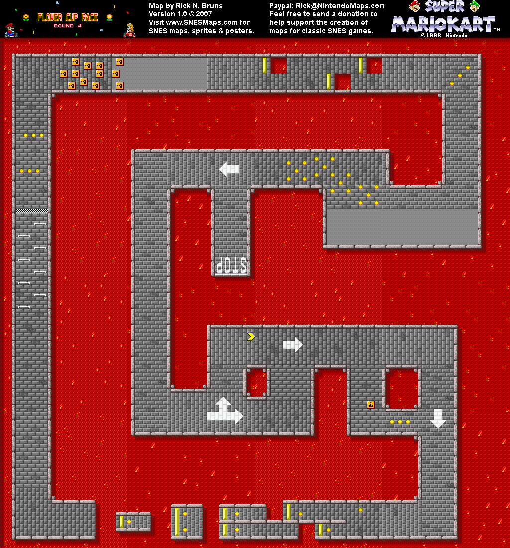 Super Mario Kart Bowser Castle 2 Map Snes