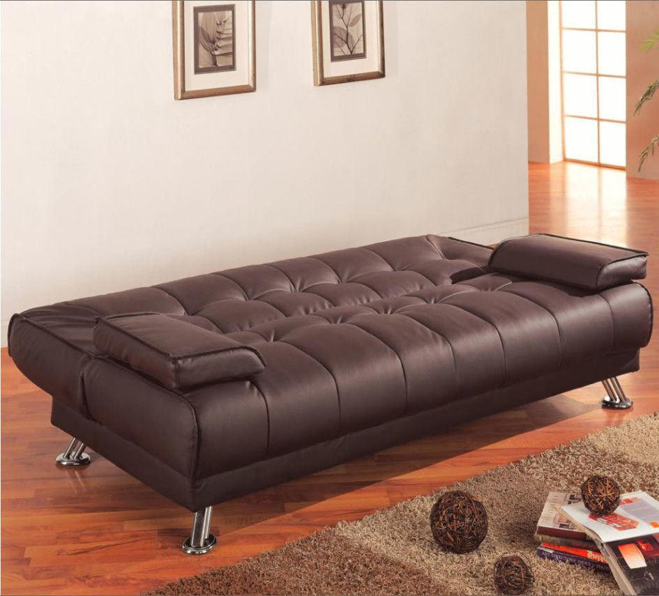 coaster futon sofa bed with removable arm rests brown vinyl furniture inspiring innovation brown leather sofa bed design      rh   pinterest