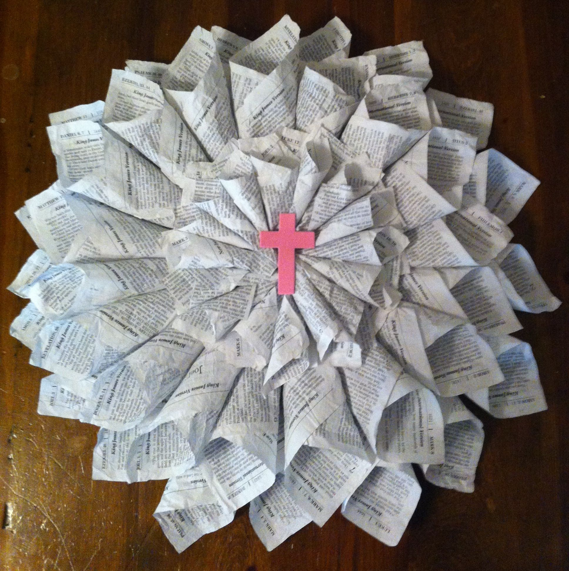 Wreath made from bible pages