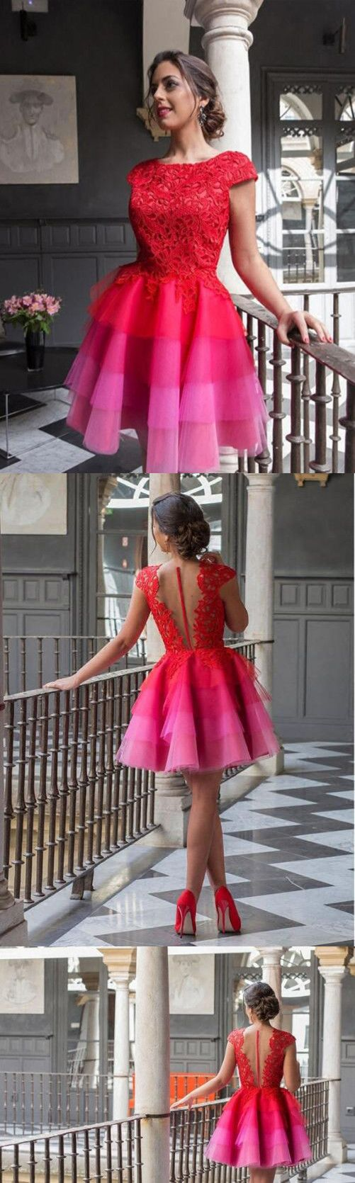 Red lace homecoming dress african cheap beautiful homecoming dress