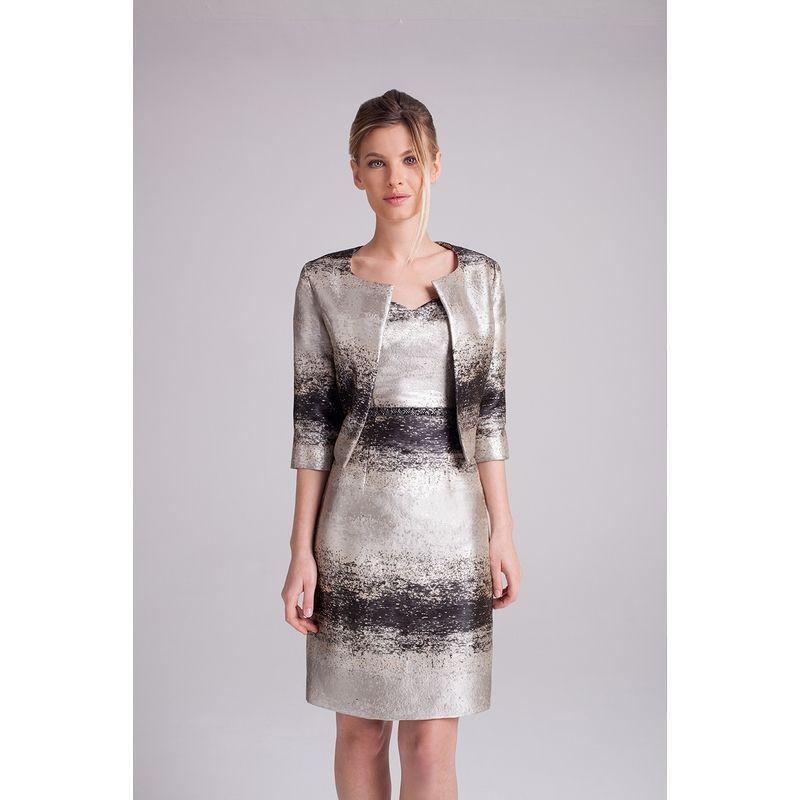 nouveau produit 3075f 73f80 Robe tailleur court avec veste, robe droite bustier, argent ...