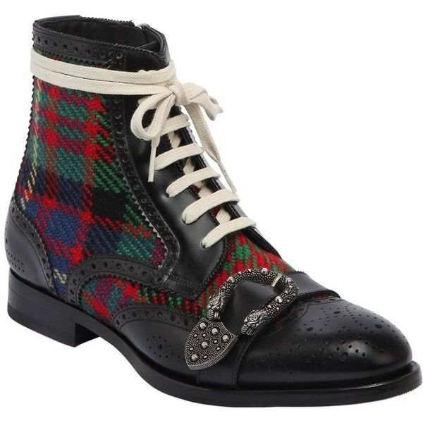 7c9f24e20 Gucci Men Queercore Leather & Tweed Boots (19.195.080 IDR) ❤ liked