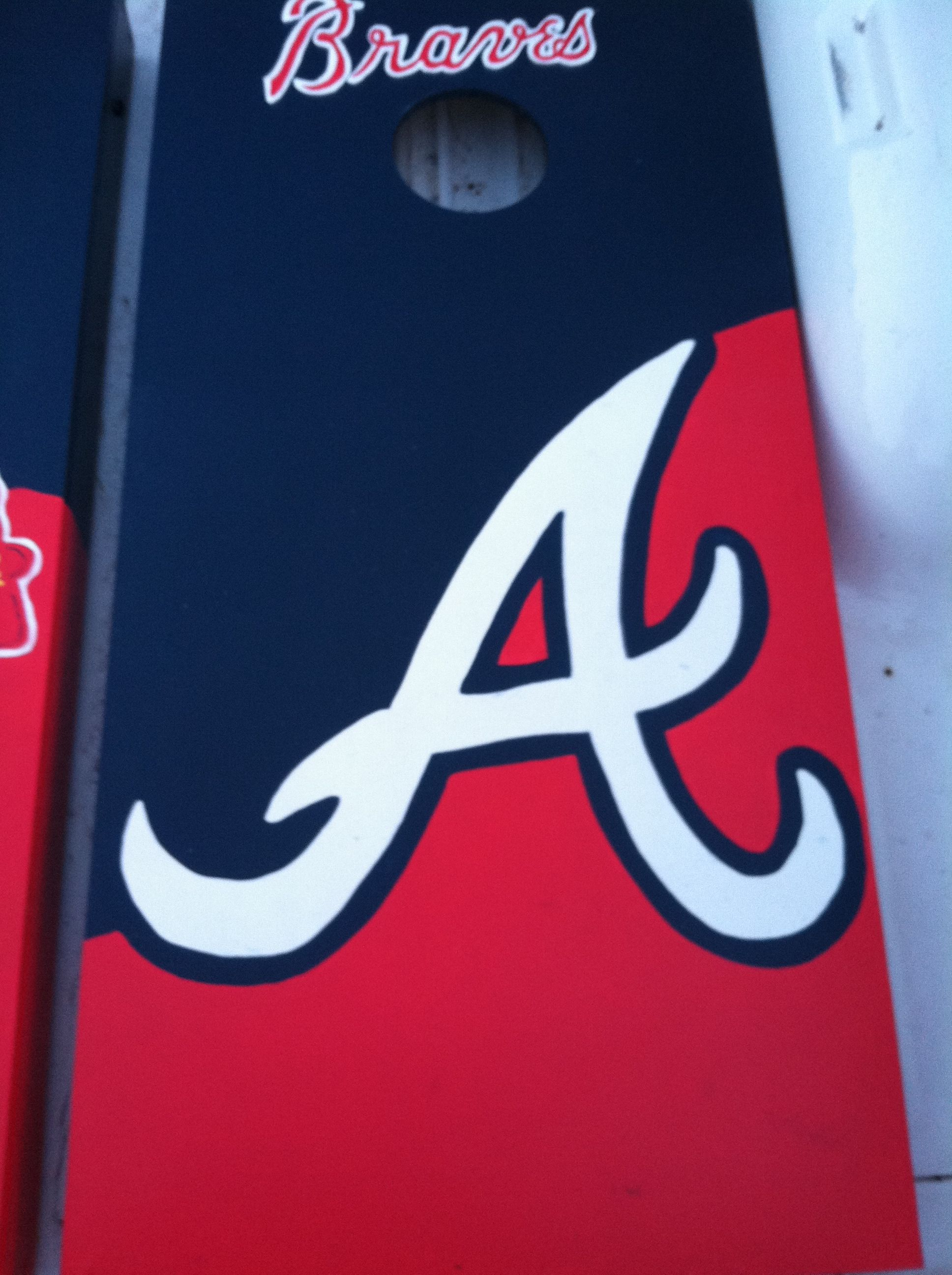 Pin By Amber Willoughby On Rainy Day Project Braves Cornhole Boards Braves Cornhole Designs