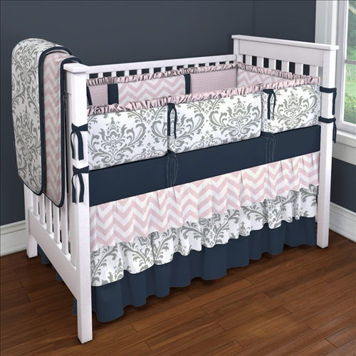 Gray Traditions With Navy And Pink Custom 4 Piece Crib Bedding Set Gray Traditions With Navy Nursery Bedding Sets Girl Pink Crib Bedding Custom Baby Bedding
