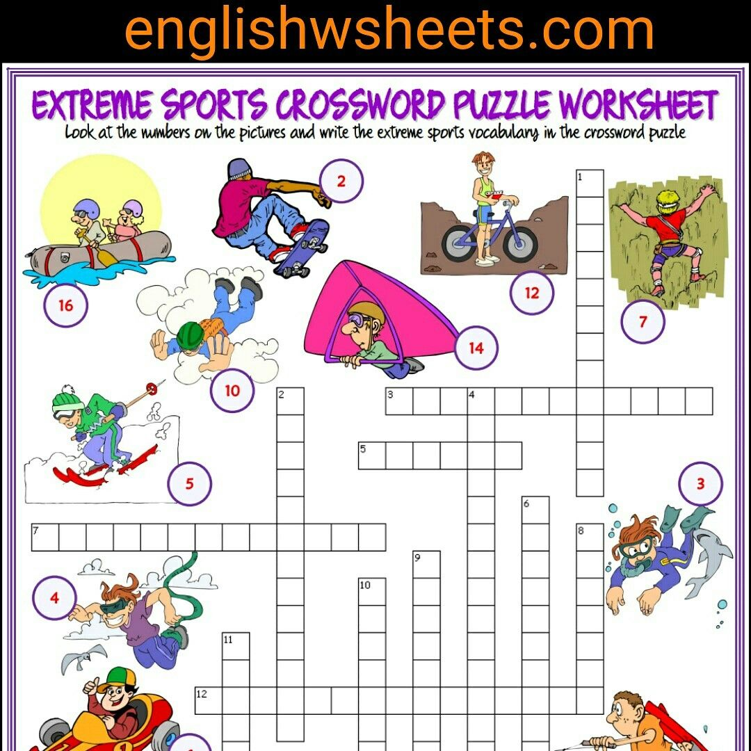 Extreme Sports Esl Printable Crossword Puzzle Worksheet