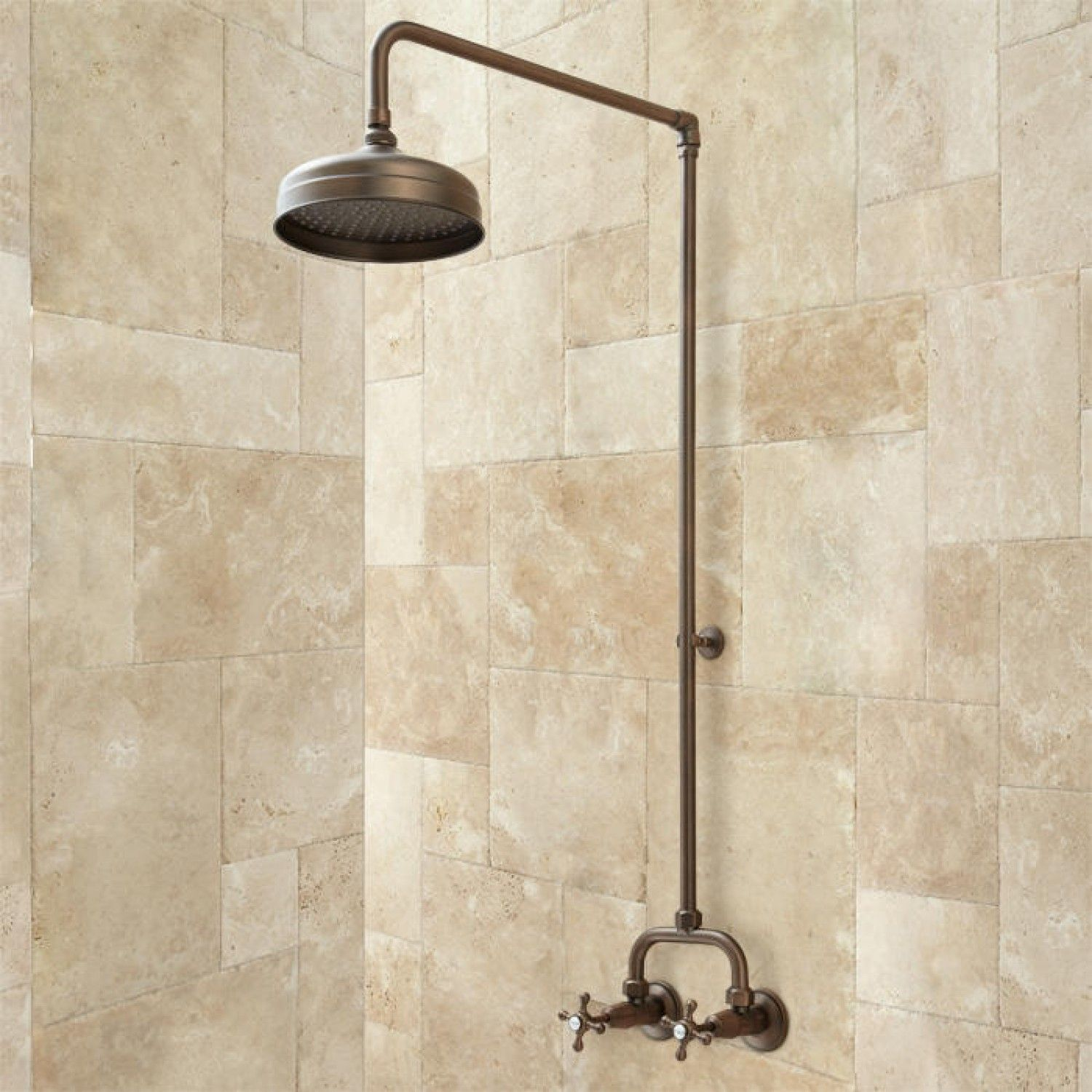 Baudette Exposed Pipe Wall Mount Shower With Rainfall Shower Head   Bathroom