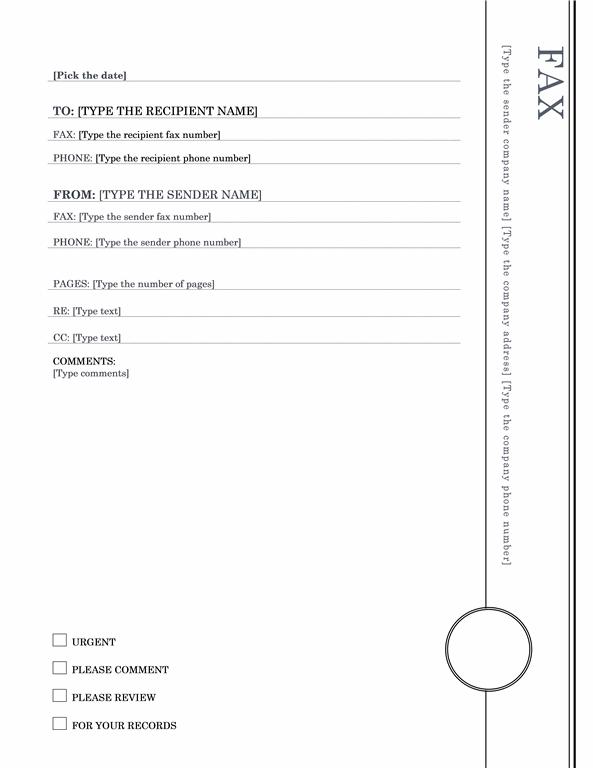 Fax Cover Sheet (Oriel Theme)