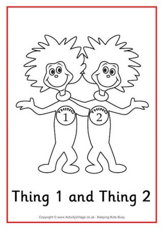 thing 1 and thing 2 coloring pages # 1