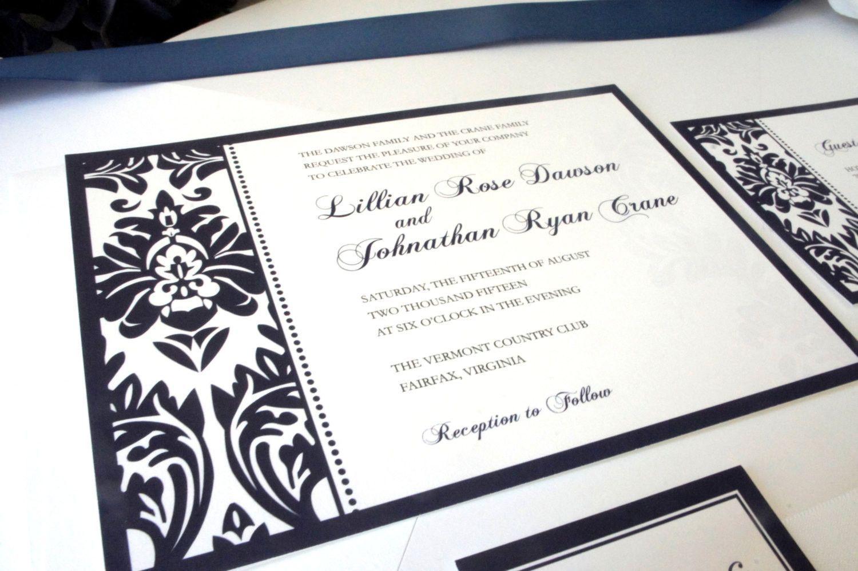 Elegant Navy Blue Wedding Invitation - Elegant Wedding Invitation ...