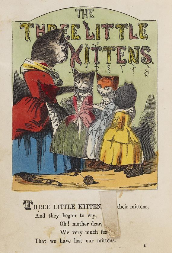 History Of The Three Little Kittens Who Lost Their Mittens Ca 1859 Little Kittens Cat Artwork Children S Book Illustration