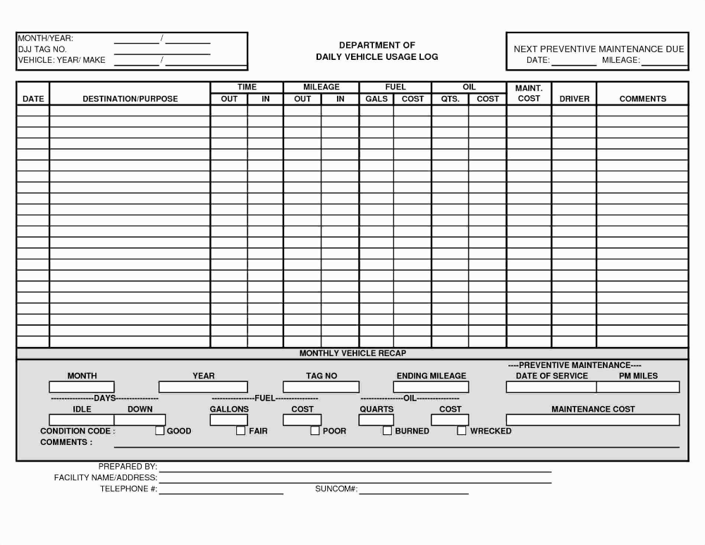 Schedule Template Driver Excel Vehicle Fleet Management Spreadsheet Within Fleet Report Template 10 Preventive Maintenance Schedule Template Excel Templates