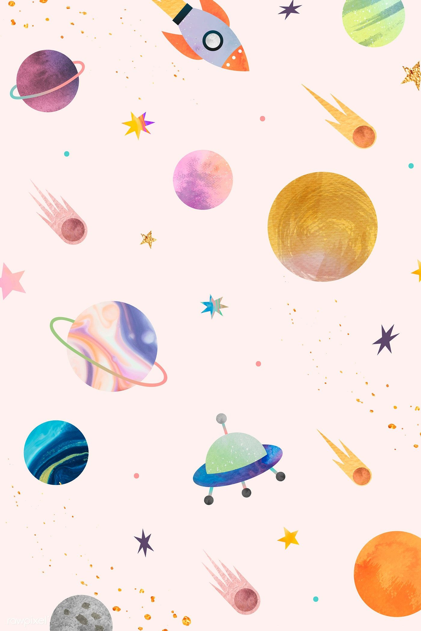 Download Premium Vector Of Colorful Galaxy Watercolor Doodle On Pastel Watercolor Galaxy Pastel Background Wallpapers Space Watercolor