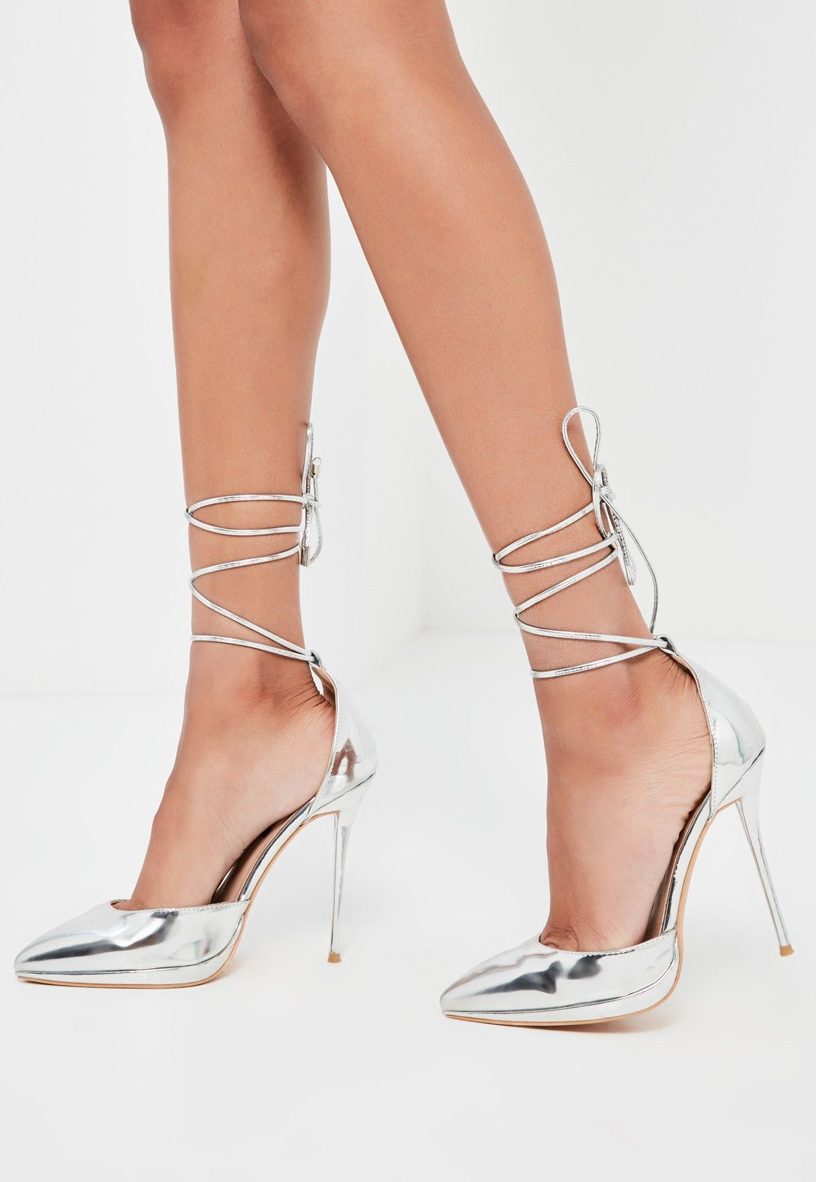 a35c768b251 Missguided - Peace Love Silver Lace Up Pumps