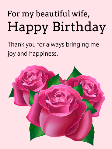 For My Beautiful Wife Pink Rose Birthday Card A Beautiful