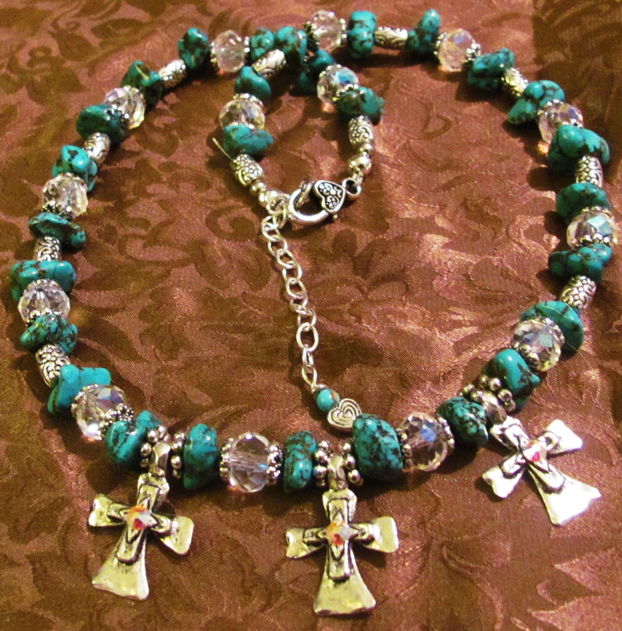 Trinity, hand made turquoise gemstone necklace set by sM Art and Design.2013