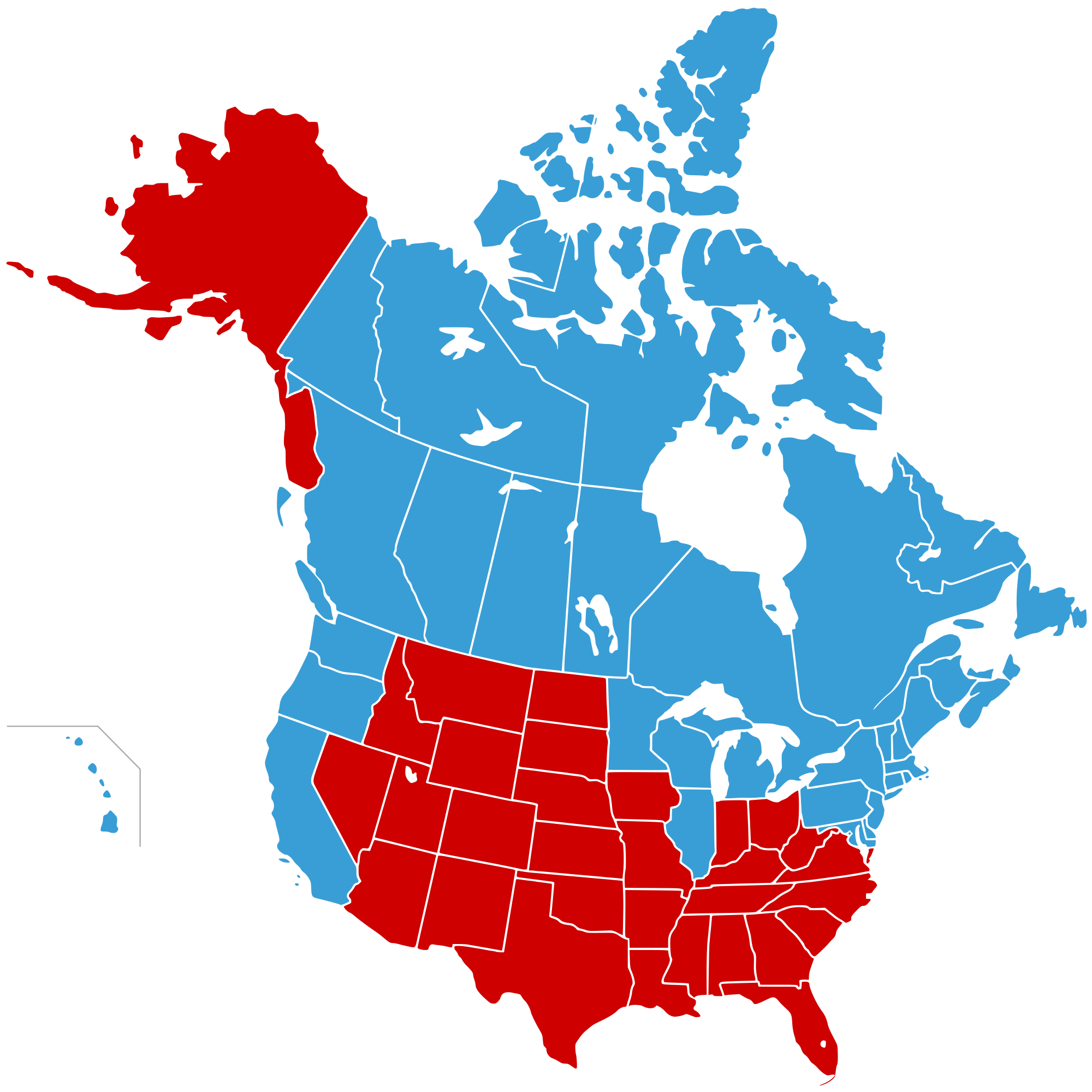 Map of the United States of Canada in blue and Jesusland in red
