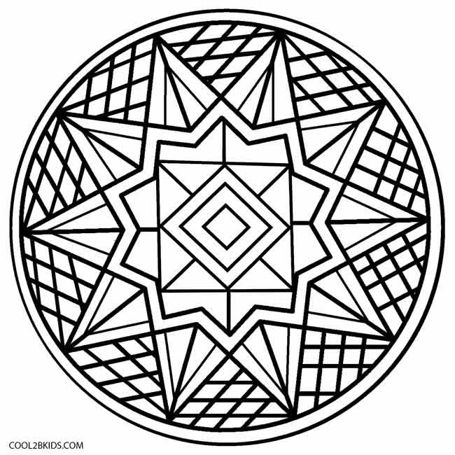 Printable Kaleidoscope Coloring Pages For Kids
