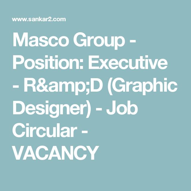 Masco Group  Position Executive  RD Graphic Designer  Job