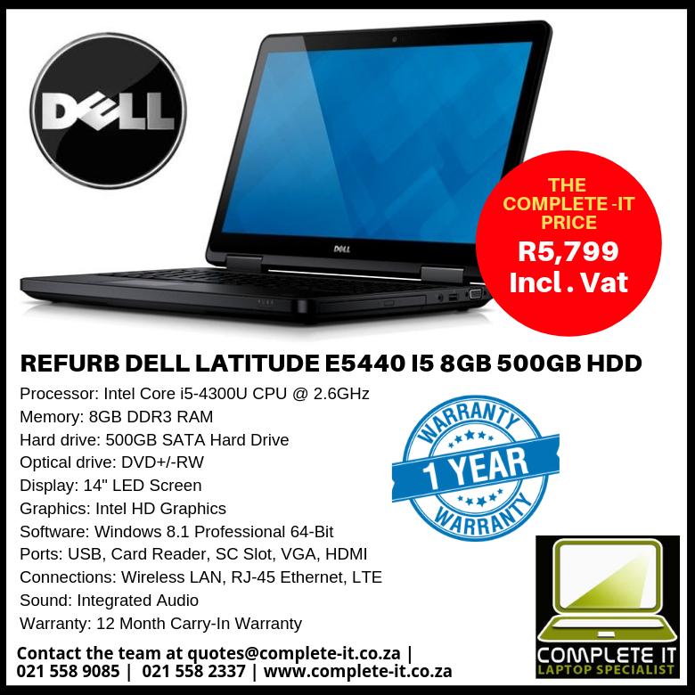 REFURB DELL LATITUDE E5440 I5 8GB 500GB HDD - The Complete