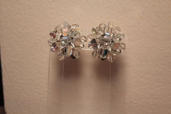 1950s Crystal Cluster Earrings / 50s Aurora by livinvintageshop