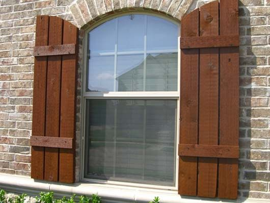 so cute, these add charm. 2015 Faux wood shutters exterior www ... on arch top wrought iron, arch top interior shutter, arch top vinyl shutters, arch top shutters for windows, arch top vinyl windows,