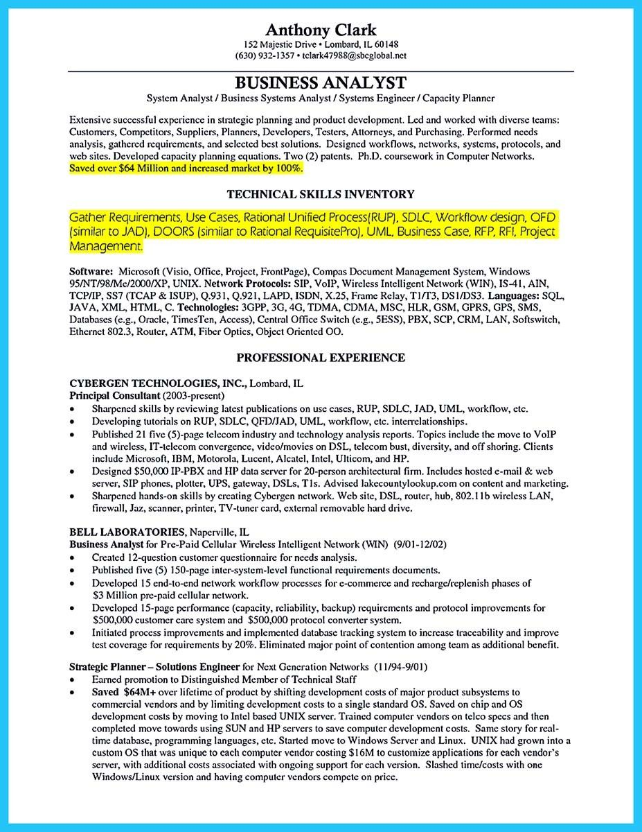 cool Create Your Astonishing Business Analyst Resume and Gain the ...