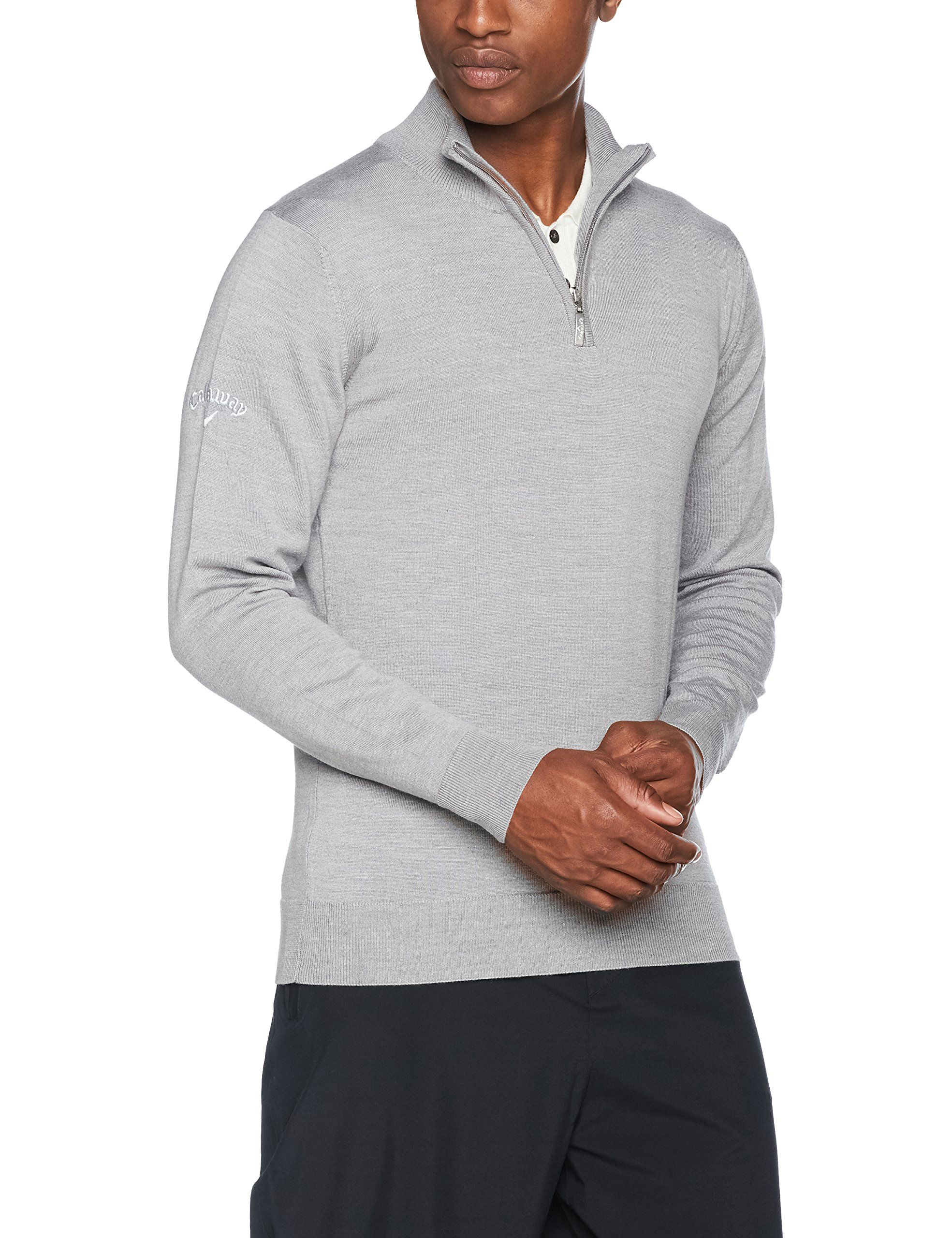 Callaway Golf Mens Merino 14 Zip Sweater Light Grey L Sports