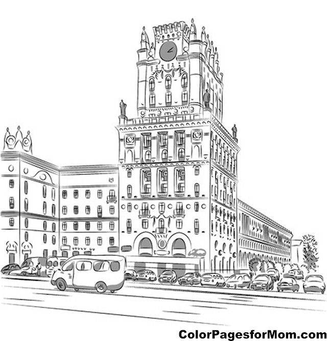 building coloring pages for adults - photo#6