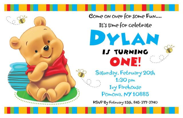Winnie The Pooh Invitations For 1st Birthday Pooh Invitation Printable Birthday Invitations Baby Birthday Invitations