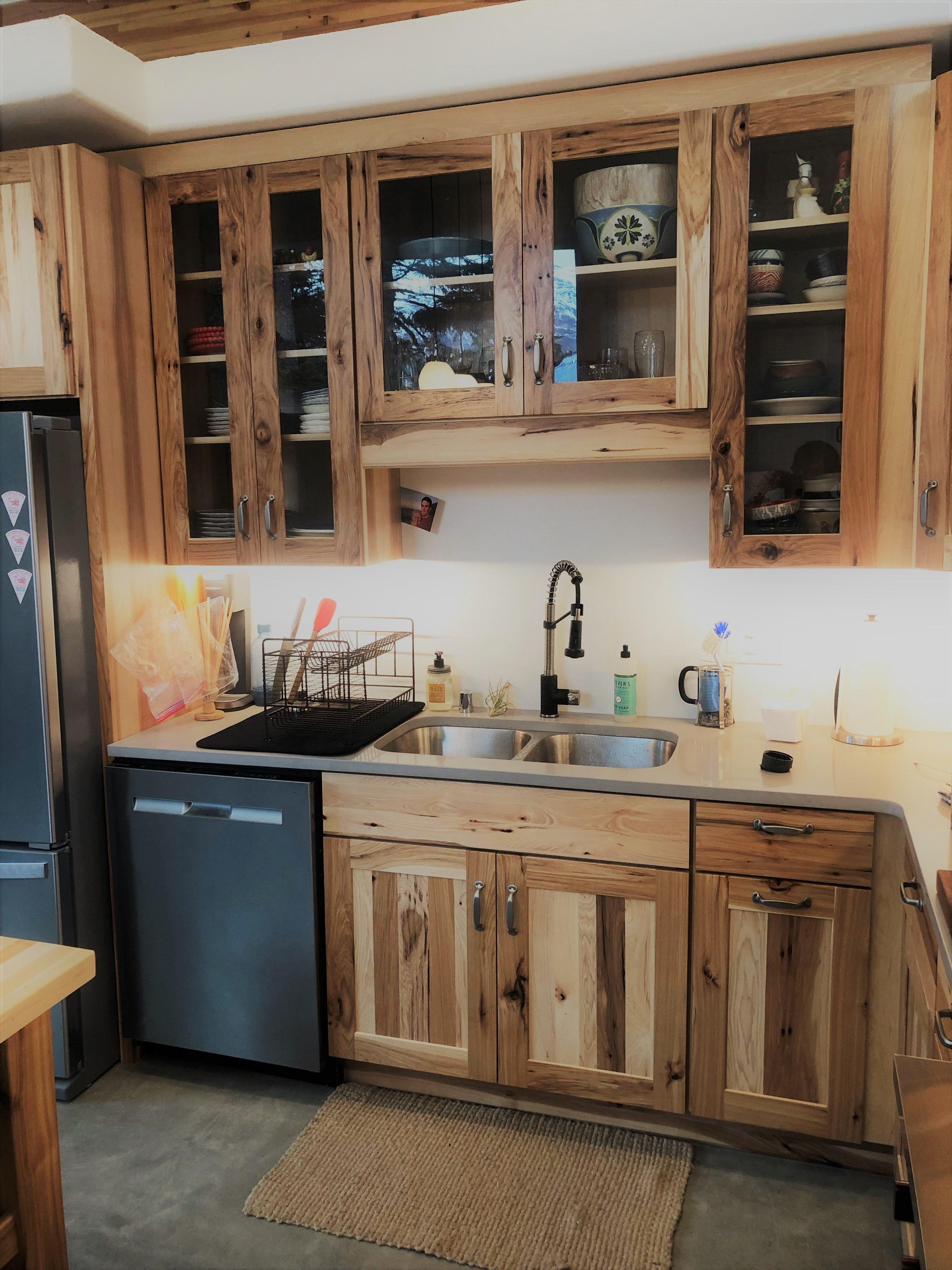 #Rustic #Hickory #Natural #Cabinets paired with #cement ...