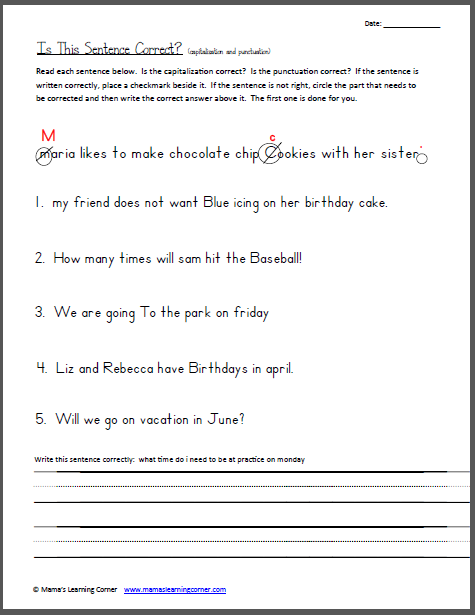 For 1st Grade Punctuation Worksheets : Th grade editing worksheets for printable