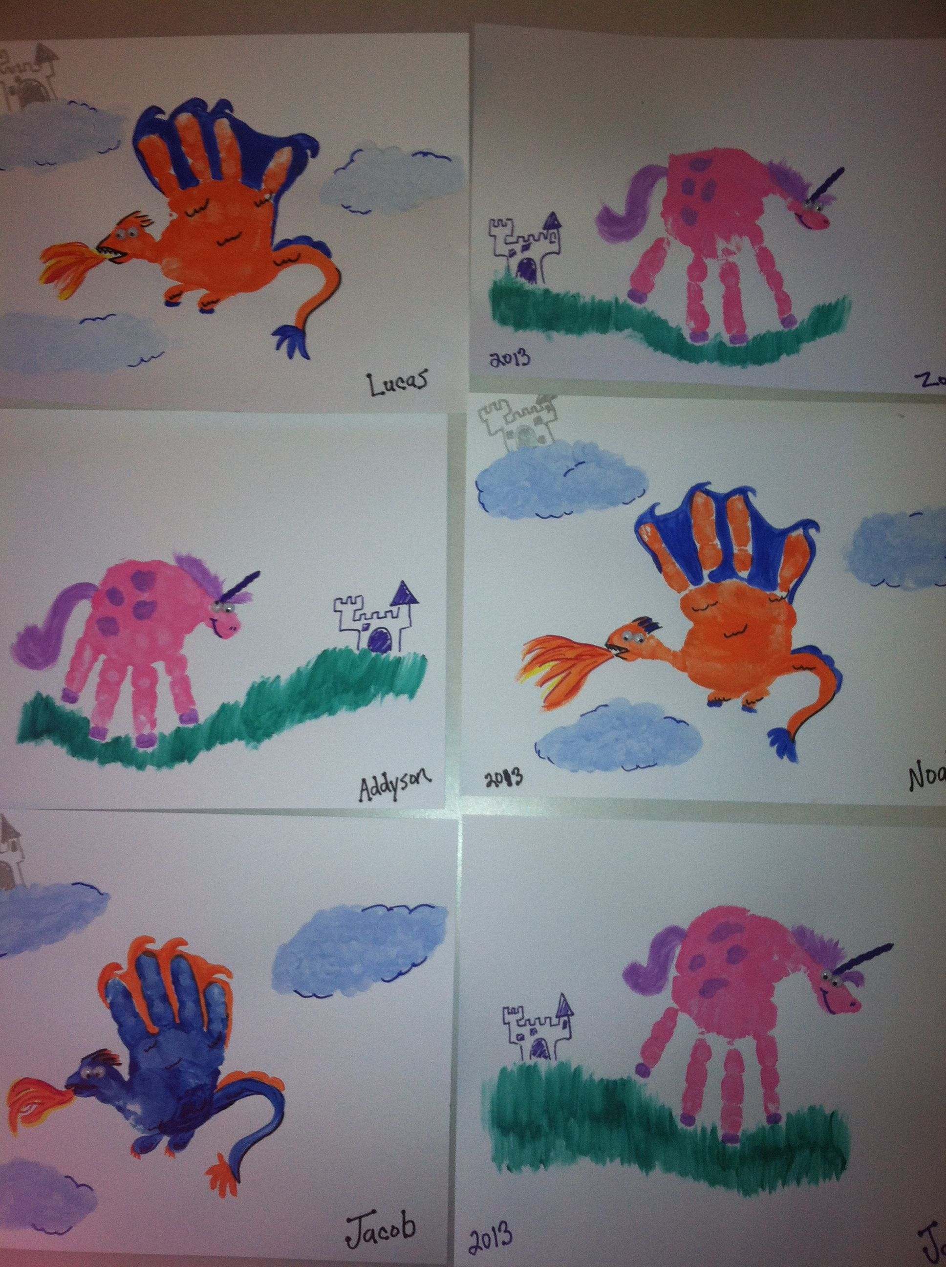 Dragon And Unicorn Hand Print Art Foot Birthday Parties Party