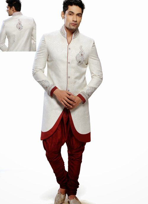 34a39be73f65 Attractive Off White Readymade Indo Western Sherwani