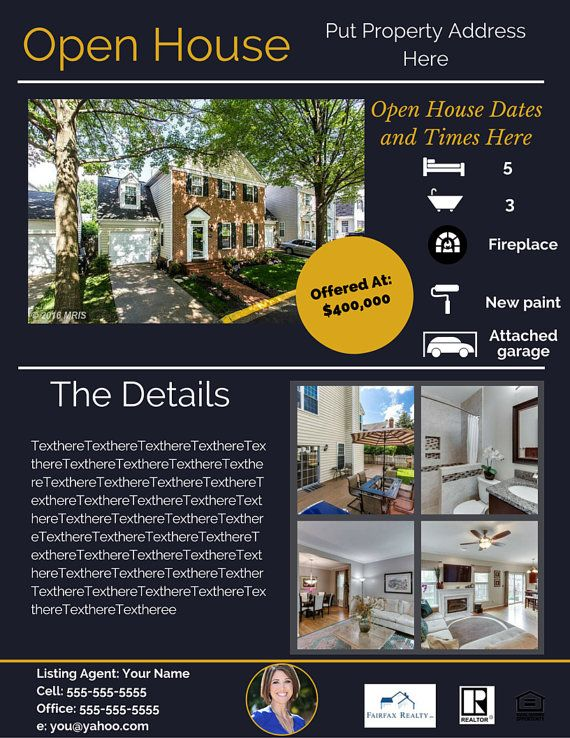 Real Estate Open House Flyer Template 1 By Astateofminddesign