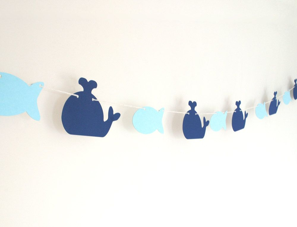 Whale+and+Fish+Garland+6+ft+by+BluefinWorks+on+Etsy,+$13.00