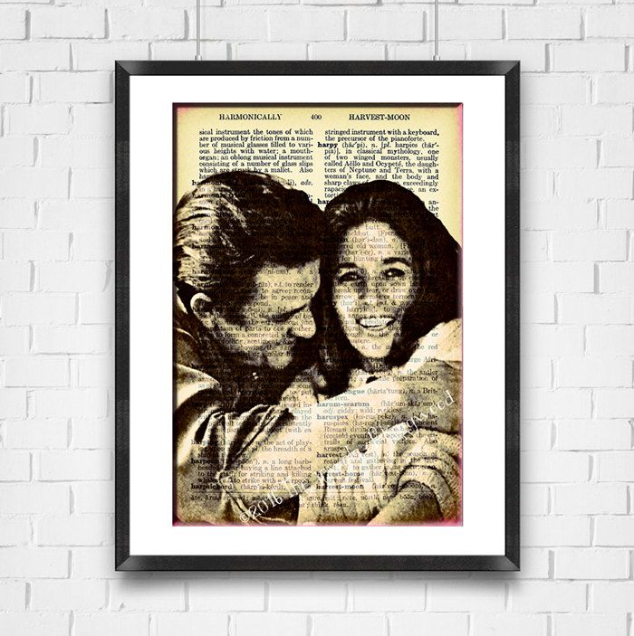 Johnny & June Carter Cash Dictionary Page Art, Home Decor Wall Art ...