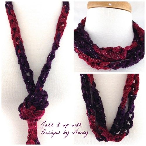 Wine Berry Purple Silver metallic finger crochet necklace Sashay ...