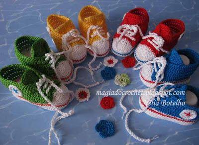 Magia do Crochet: Allstars em crochet para bebé, novas cores