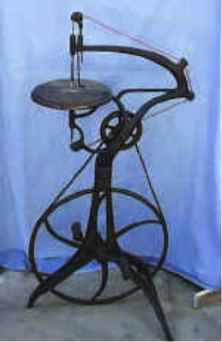 (6) The Barnes #2 Velocipede Scroll Saw had a 24-inch swing, meaning it could cut two feed inward from the edge of your project. Others didn't have swings this large, as you can see in the Barnes Velocipede Scroll Saw #6 above.