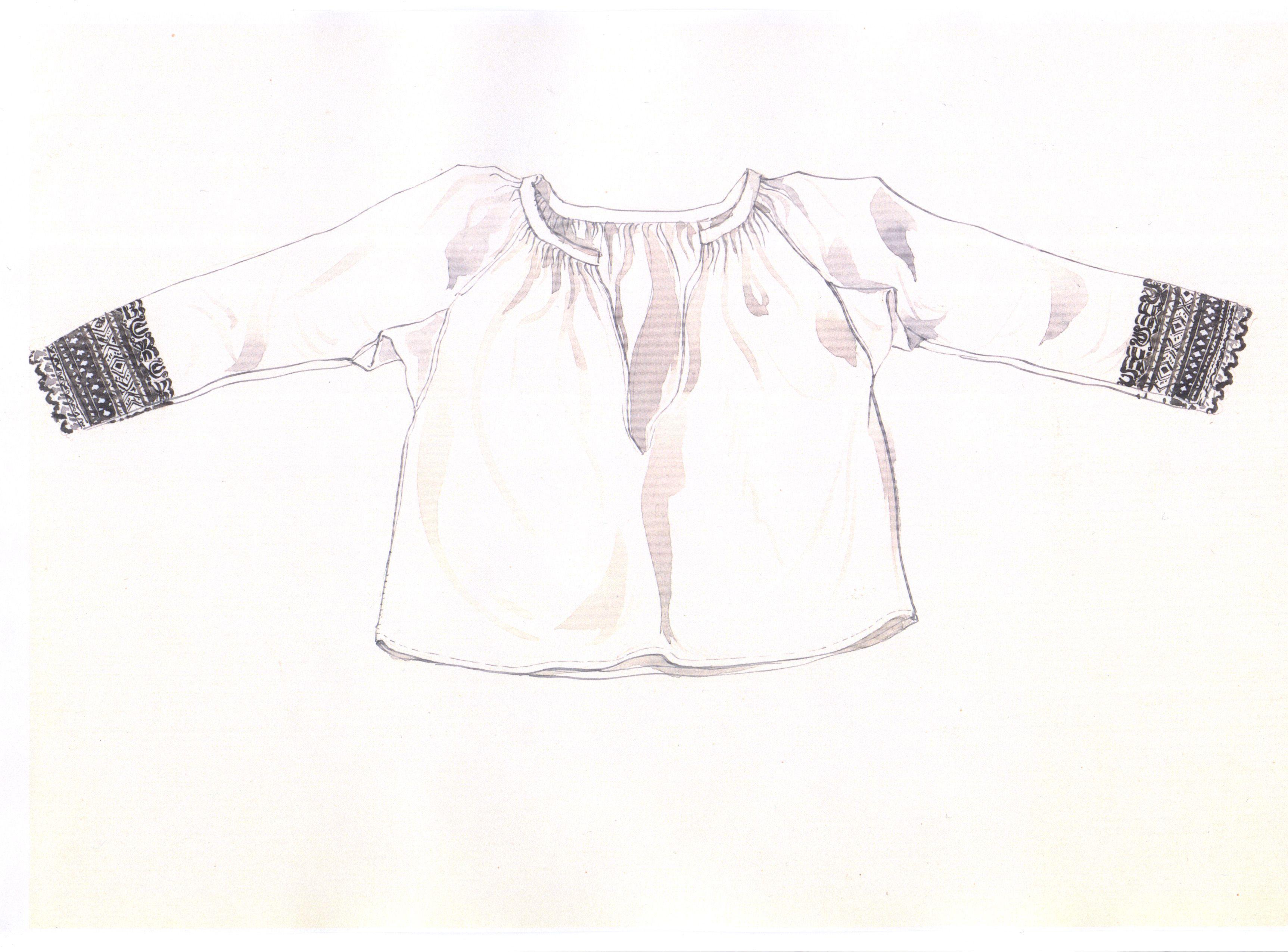 Rukávce, Veľké Zálužie, začiatok 20. storočia. Rukávce (košeľa) sú ušité z domáceho bavlneného plátna. Majú rovný strih s bokom prišitými rukávmi. Horný okraj predného i zadného dielu spolu s horným okrajom rukávov sú naberané a všité do hrubšieho obalka. Rukávy sú rovné a úzke, siahajú po zápästia. Čierna výšivka na koncoch rukávov dokladá, že rukávce boli určené na obdobie smútku alebo pôstu. Lokálny názov vychádza z toho, že rukávce sa šili z domáceho bavlneného plátna. Keby boli z…