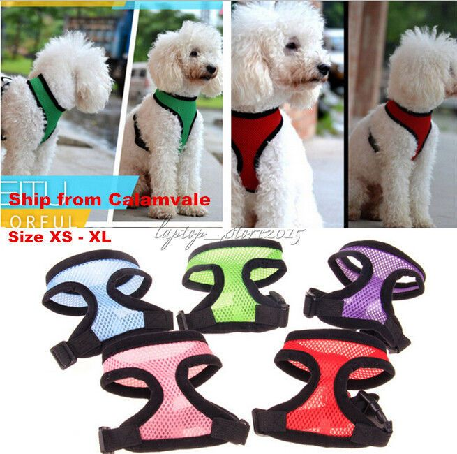Adjustable Breathable Mesh Fabric Soft Dog Harness Vest For Small