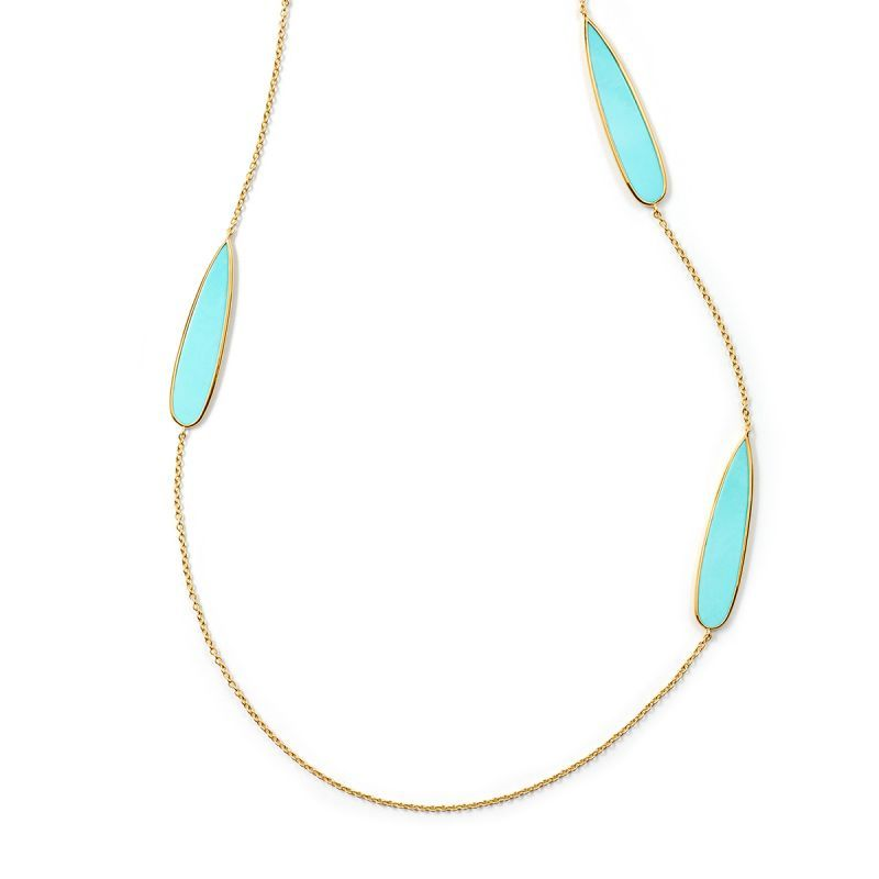 Ippolita 18k Polished Rock Candy Turquoise Station Necklace QnSVHxMOXx