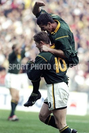 Joost Van Der Westhuizen Celebrates Jannie De Beer S 10 World Record F Rugby Poster Rugby Rugby Pictures