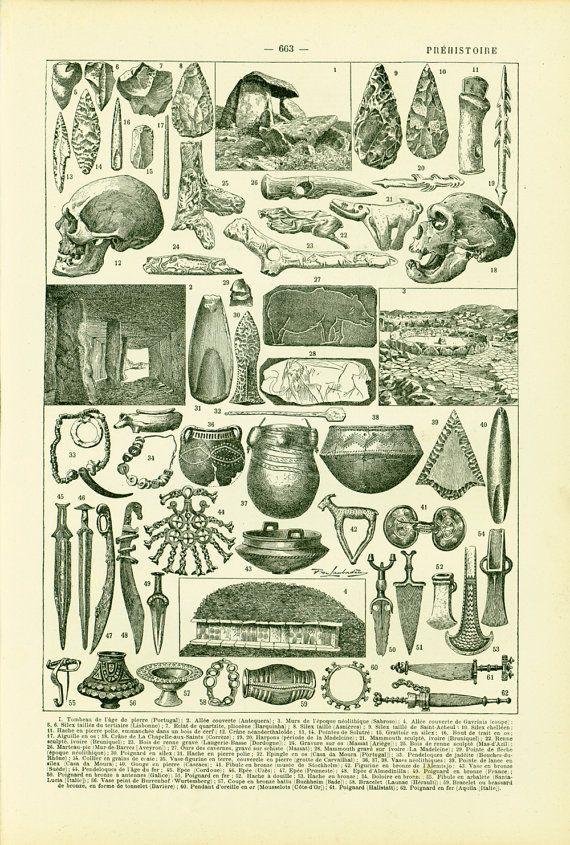 1897 Prehistoire Planche Originale Ancienne Larousse Etsy Antique Prints Prints Archaeology